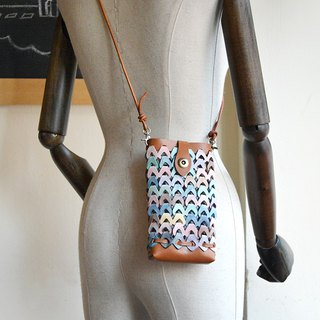<New> Fading Mist Leather Woven Phone Pouch
