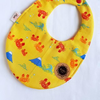 Crab Mount Fuji - Yellow - Eight Layers 100% Cotton Double Sided Egg Bib. Saliva Towel