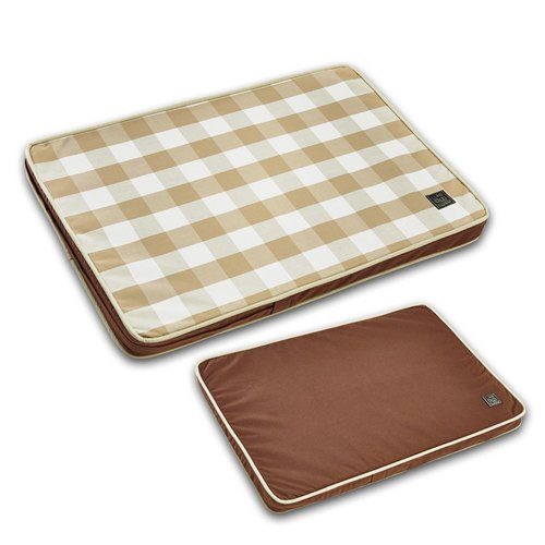 Lifeapp pet bed cushion large Check --- M (brown and white grid) W80 x D55 x H5 cm