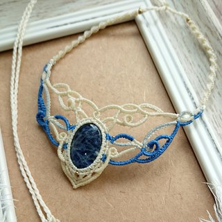 N85 Bohemian ethnic style South American wax line woven brass soda (Sodalite) necklace