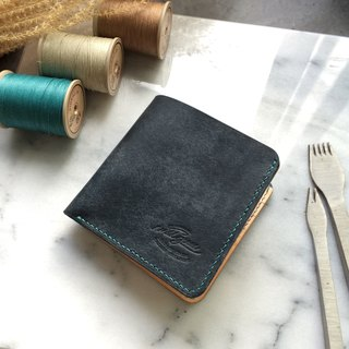 Classic eight card short clip ∵∴ warships Blue Wallet
