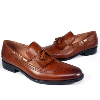 Sixlips england wing tassel full carved loafers shoes brown