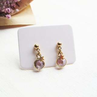 Rosy Garden light pink crystal little stars earrings