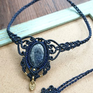 N71 Bohemian ethnic style South American wax line woven brass soda (Sodalite) necklace