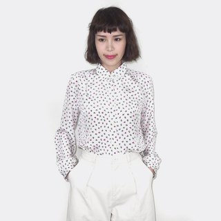 Vintage small pattern chiffon vintage long sleeve shirt BM4013 on white