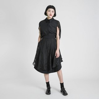 Edge edge stitching skirt_8SF233_Black