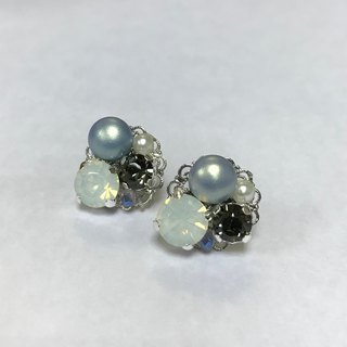 Rhinestone Pearl Earrings - Pink Blue + Gray