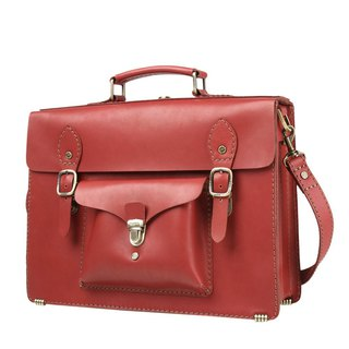 JIMMY RACING retro style leather portable diagonal back 3way briefcase - red 04166006