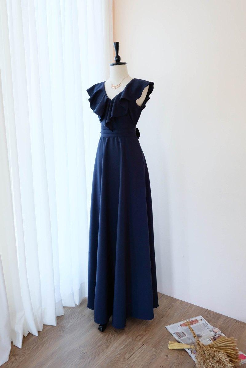 Navy Maxi連衣裙夏季連衣裙伴娘禮服雞尾酒會禮服