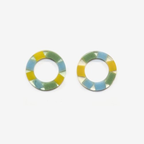 Modern Translucent Circle Earrings - Green, Post Earrings, Clip on Earrings