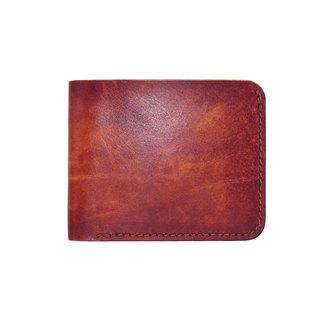 Simple short clip / hand dyeing / double needle hand sewing / custom / Italian vegetable tanned leather