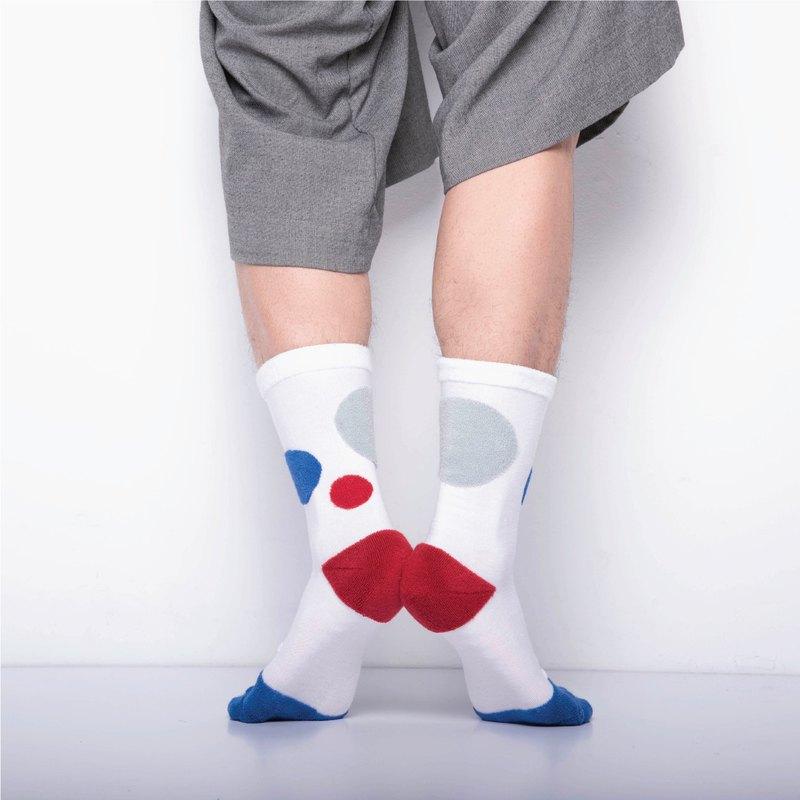 內在美系列 -  心 白色 雙面中筒襪 Reversible Socks