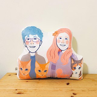 FunPrint customized  左右 Series Couple illustration Pillow