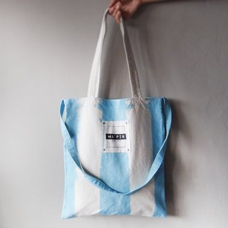 Sky blue straight dyed - Canvas hand dyed Tote bag double back