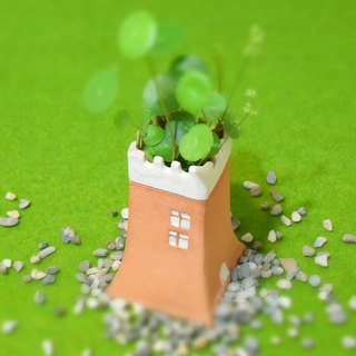 [good] pottery house tower type _ flower _ pen holder _ storage _ table decoration _ Tao house