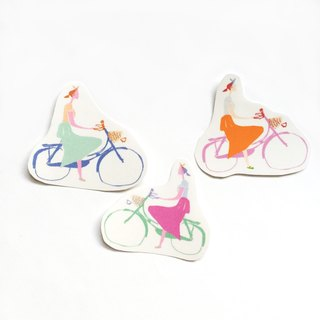 Sticker Pack, Set of 3 Hand Cut Bicycle Girls Clear Vinyl Hipster Sticker Set- Hand Drawn Women Cycling, Laptop Decal or Snail Mail Wrapping