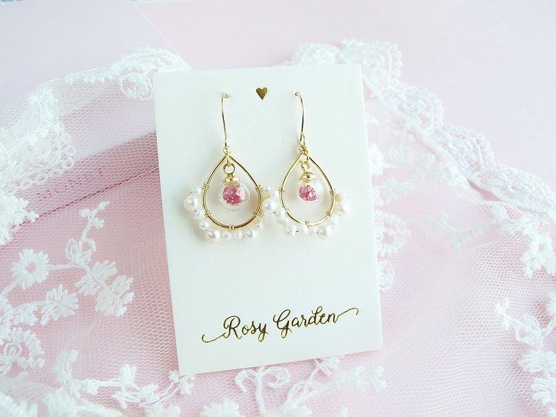 Rosy Garden 雅典娜 淡水珍珠水晶球耳環 可換耳夾