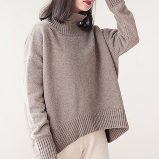 KOOW warm and know high collar large profile thick sweater warm bones of wool cashmere