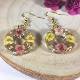 Japanese donuts dried flower transparent gold flower earrings