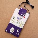 夢幻紫色鳥刺繡手機袋(L)