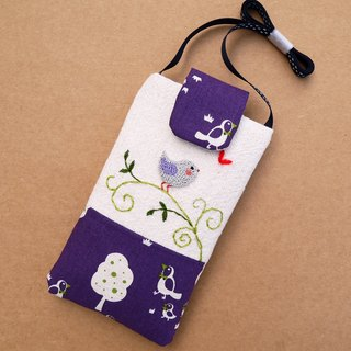 Dream Purple Bird Embroidery Mobile Phone Bag (L) for 5.5 inch mobile phone