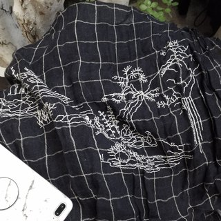 chinese style line art embroidery window plaid linen scarf