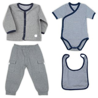 Martin House Four-piece Gift Set - Navy/Grey (Stripes)