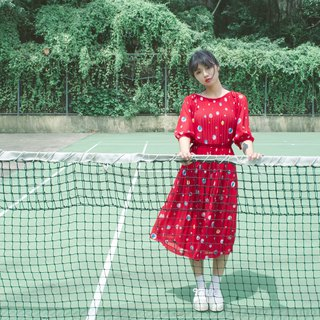 Red Planet Five-Point Sleeve Vintage Dress