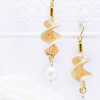 Edith & Jaz • Freshwater Pearl Twist Earrings – Gold Color