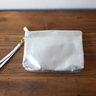 Simple Leather Wristlet Clutch Bag / Metallic Silver Leather Purse.