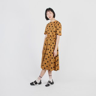 [Egg Plant Vintage] Showa Water Jade Printed Cotton Vintage Dress