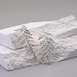 Oriental Arborvitae Leaf 925 Sterling Silver Earrings Nature Plant