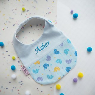 Handmade Name Embroidery Baby Bib - Blue Dancing Elephant