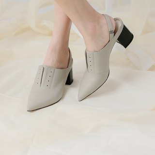 Simple color matching vintage leather heel shoes grey