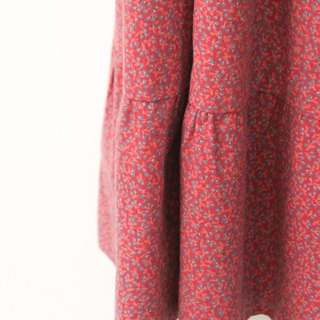 Vintage rural style red floral Europe and the United States cotton vintage dress European Vintage Skirt