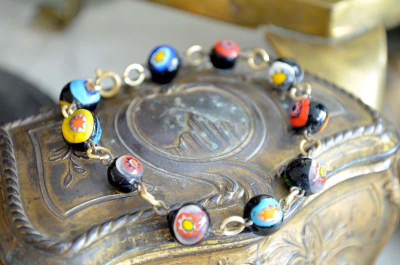 手工琉璃彩色花紋圖案珠幸運手鍊 日本二手中古珠寶首飾古著