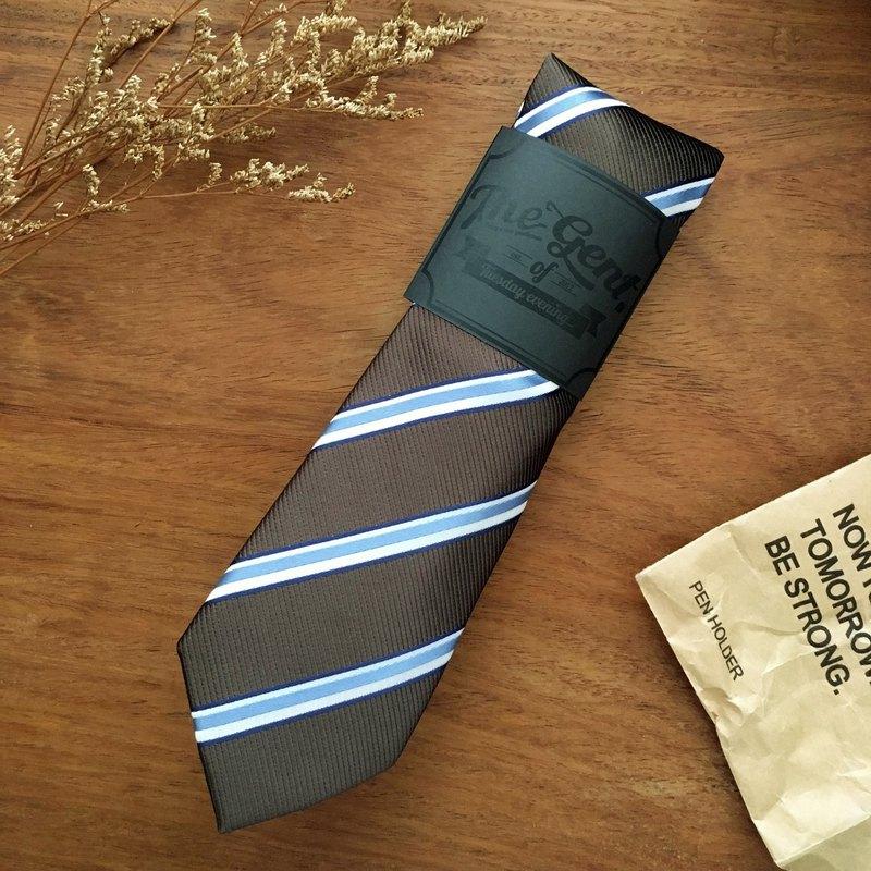 紳士棕藍色天空條紋領帶
