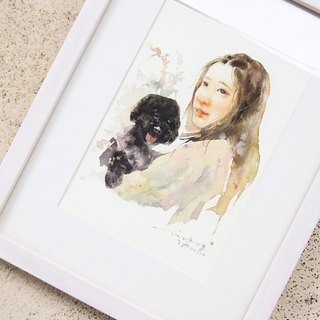 Chiao Ji hand-painted watercolor - Custom Portrait & Pet portrait - [Frame / Double]