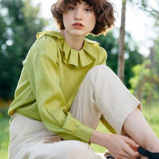 Linen frill collar blouse in Lime Green