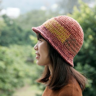 Woven bell-shaped splicing wool cap - plum tree 2