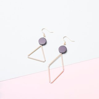 YUNSUO-original design-geometric earrings clips with black agate