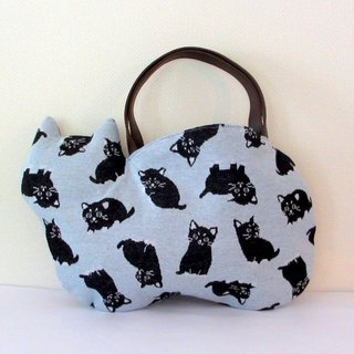Black Cat Neco Bag Light Blue Handle Brown