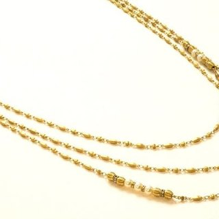 Drape pearl necklace brass
