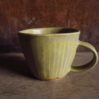 Hand pinched gray yellow wide mouth mug