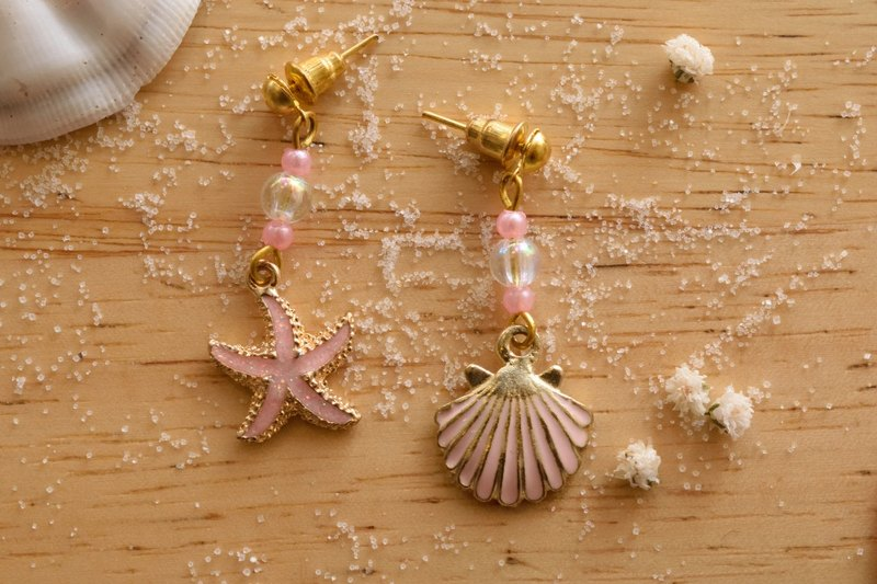 Cute & Beauty Adorable Pink Sea Shell Star Fish Dangle Earrings