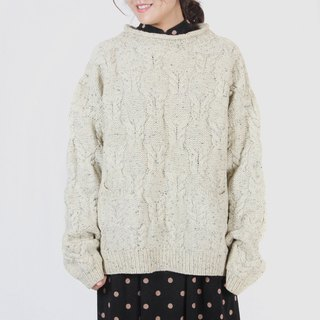 [Egg plant ancient] pure classic woven flower vintage sweater