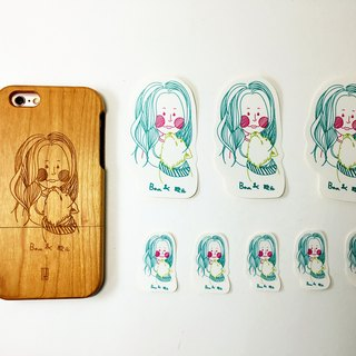 [TAB] character illustration custom wood texture phone case (including illustration stickers) / Wen Chuang / wood / wood / wood / hand made / laser engraving / iPhone case / Shiba Inu / wedding small objects