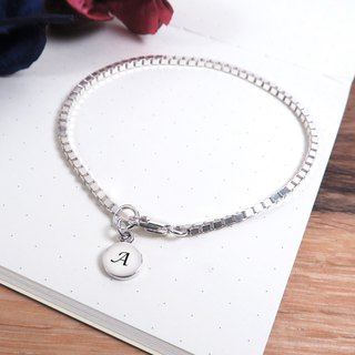 Small round series of detailed square box round bracelets unisex 925 sterling silver custom lettering bracelet