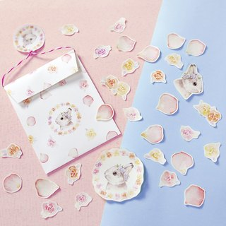Rose petals Bunny sticker set