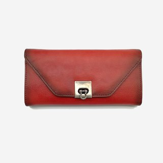 [Mother's Day gift] Ms. leather long clip leather color hand-purse mobile phone bag Clutch card banknote change package red/black/brown